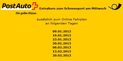 """Zusätzlich zum Internet-Fahrplan gibt es Extrakurse zum """"Schneesport am Mittwoch"""" an folgenden Tagen"""