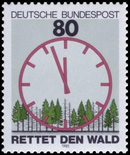 Die staatliche deutsche Bundespost machte Staatspropaganda und gab eine alarmierende Panikmache-Briefmarke zum Waldsterben heraus.