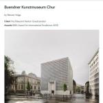 Bildschirmfotoausriß von architecture.com mit Bericht zur Preisverleihung des Architekturpreises an das Bündner Kunstmuseum